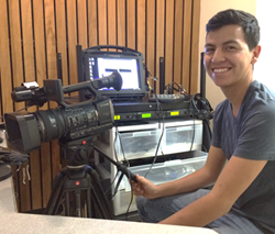 Student Carlos Mora Records Presentation for Connect-Learn-Engage Program