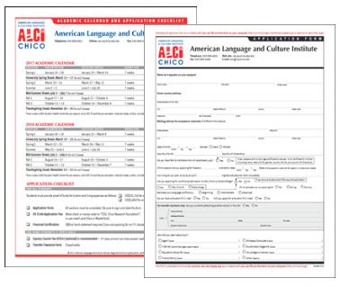 ALCI Chico Acadmic Calendar, Application and Checklist