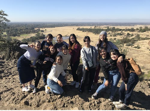 "ALCI students enjoy the view from atop ""Monkey Face"" in Upper Bidwell Park, Chico, CA"