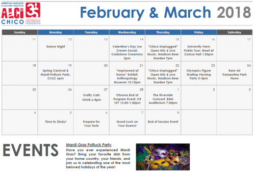 A calendar of ALCI activities for February && March 2018