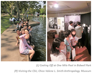 Okinawan students cooling off at One Mile Pool in Bidwell park (left) and visitng the Valene L. Smith Anthropology Museum at CSU, Chico (right).