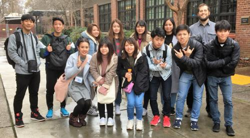 Students from the Naha Nikkei Business College arrive for their studies at ALCI, Chico