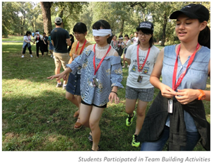 Okinawa Global Leadership Program students participate in a team building activity.