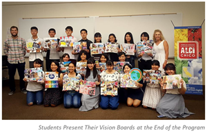Students present their vision boards during an end-of-program event.