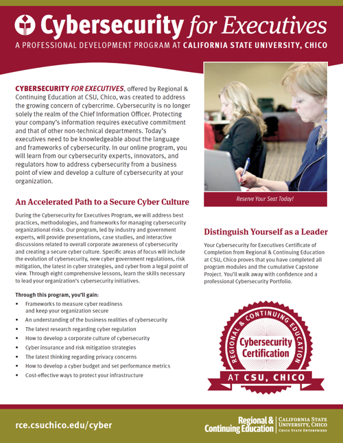 Cybersecurity for Executives Program Brochure