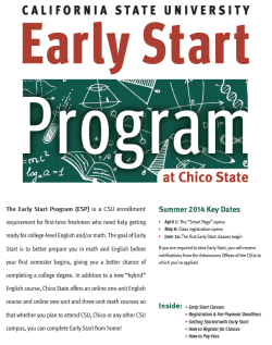 Early Start at CSU, Chico