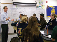 Photo: FFA students in a classroom learing about agriculture