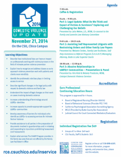 Domestic Violence Update Training 2014 Flyer