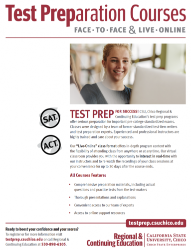 Image of SAT & ACT Test Prep Schedule Flyer. Click to download pdf.