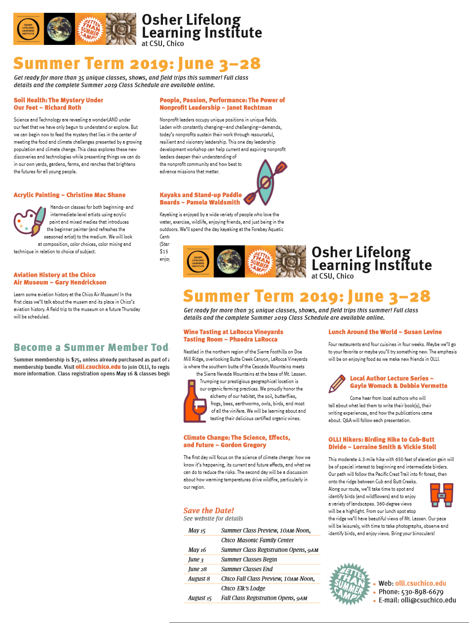 Decorative Image: Click to download a pdf flyer about the summer term. All information can also be found online at https://olli.csuchico.edu