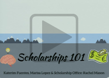 Watch Scholarships 101 presented by the Student Learning Center and Financial Aid <span class=