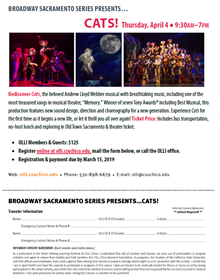 Broadway Sacramento Bus Trip to Cats Sign Up Form