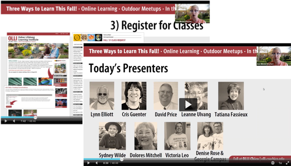 Slide captures from OLLI online Fall Class Preview. Click to view recording of event.