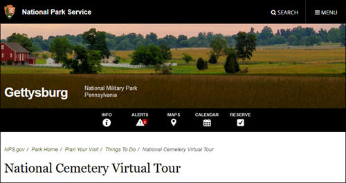 Screen capture of National Parks virtual tours web page