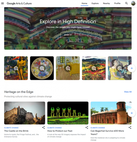 Screen capture of Google Arts and Culture website