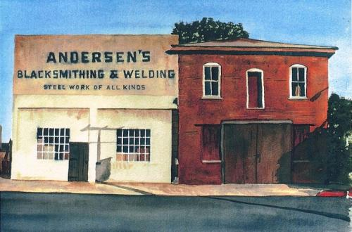 Watercolor of the blacksmith shop at 231 W. 8th Street in Chico by Osher Lifelong Learning Institute professor and former Chico State professor Cris Guenter. (Cris Guenter — Contributed)