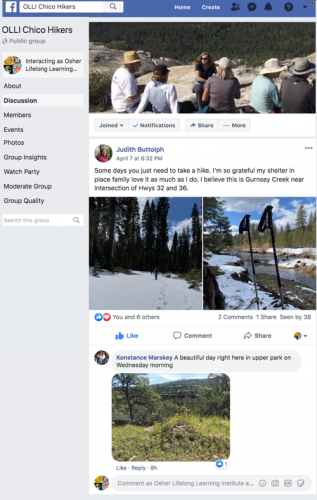 Image of the OLLI Hikers Facebook Group