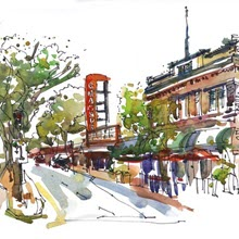 Watercolor sketch by artist Suhita Shirodkar