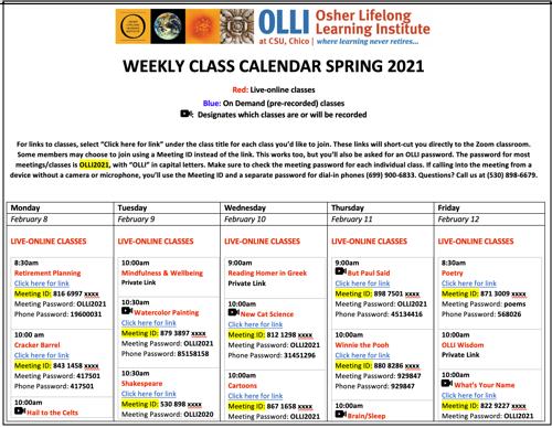 Snapshot of weekly class calendar.