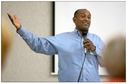 Dawit Zeleke, a native of Ethiopia, talks about his experiences as an immigrant to the U.S. during an OLLI meeting at the Chico Masonic Family Center.