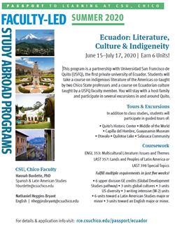 Program Flyer for Faculty-Led Program to Ecuador