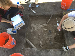 Field school participants conduct on-site excavation work
