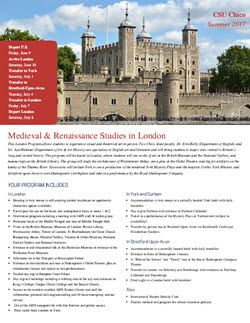 Info Flyer for Medieval && Renaissance Studies in London