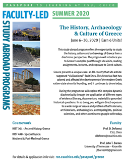 Image of Informational Flyer for Greece Trip