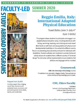 Image of Informational Flyer for Italy Trip