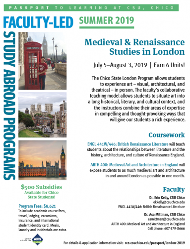 Flyer for Faculty-Led Study Abroad Trip to London, Summer '19