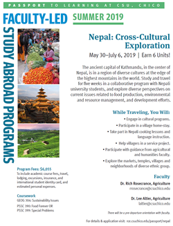 Program Flyer for Nepal Summer 2019 Program