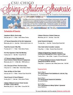Spring Student Showcase Schedule