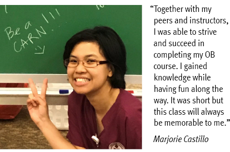 "2019 INRP student Marjorie Castillo says, ""Together with my peers and instructors, I was able to strive and succeed in completing my OB course. I gained knowledge while having fun along the way. It was short but this class will always be memorable to me."" Marjorie Castillo"