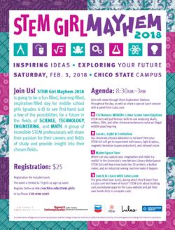 Download a STEM Girl Mayhem 2018 Event Flyer
