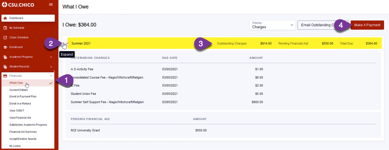 Screen shot of the Student Center financials screen that shows fees due for a summer session class.