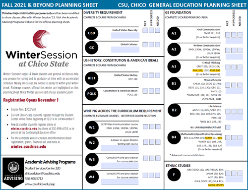 GE Planning Sheet with Winter Classes Highlighted